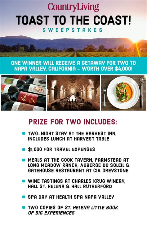 country living sweepstakes country living napa sweepstakes
