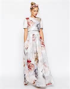 wedding guest maxi dress asos asos salon scuba floral crop top maxi dress at asos