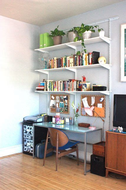 shelves above desk the 10 best in small space home tech apartment therapy