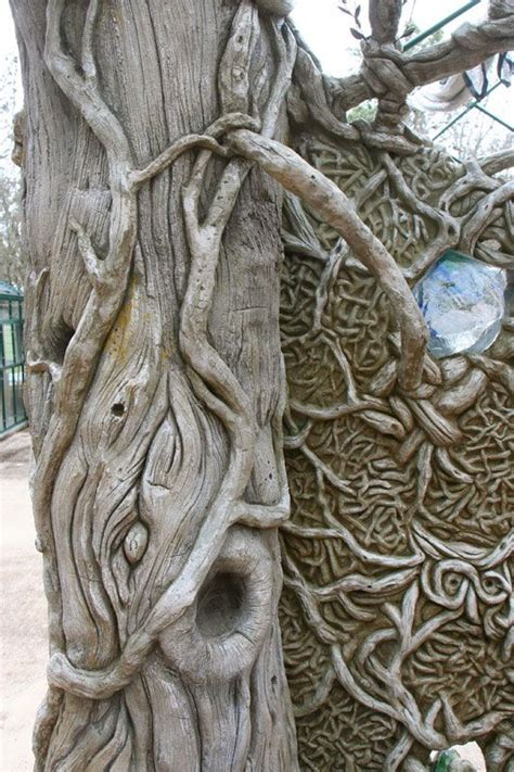 detail  fantasy faux bois cedar tree   concrete