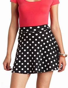 High-Waisted Polka Dot Skater Skirt Charlotte Russe