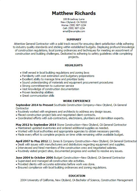 General Resume Template by Resume Templates General Contractor Resume Sle