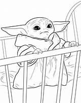 Yoda Crib Coloring sketch template