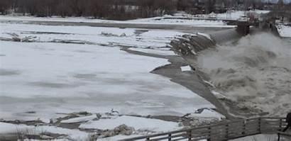 Ice Jam Break Licensing Breaking River Flowing