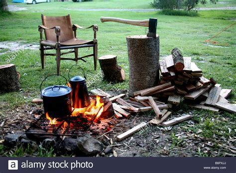 cooking open pots fire pans outdoors being camping alamy shopping cart