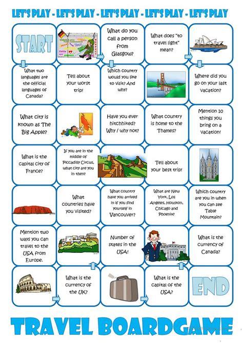 travel board game worksheet  esl printable