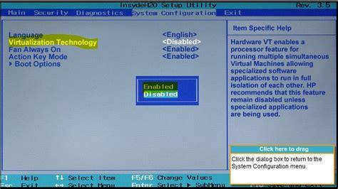 problems enabling virtualization technology  bios dv