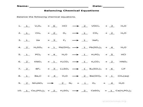An answer key is provided. Balancing Equations Worksheet Answer Key ...
