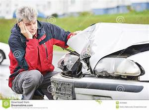 Upset Man After Car Crash Stock Photo  Image Of Loss