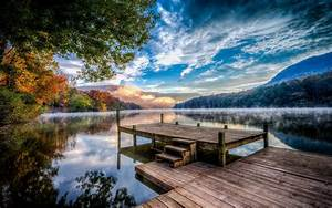 Lake, Nature, Sunset, Mountain, Fall, Pier, Forest, Mist, Water
