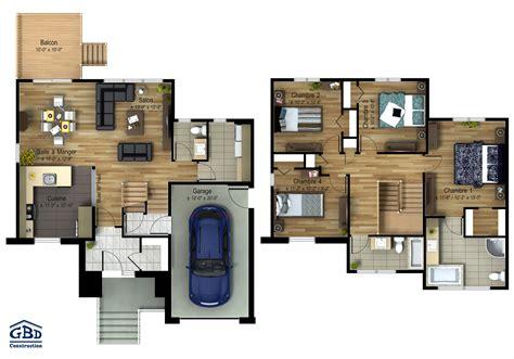 plan maison etage 2 chambres plan maison deux etage