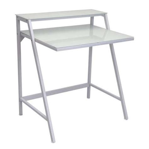 2 tier computer desk lumisource 2 tier frosted glass computer desk white ofd tm