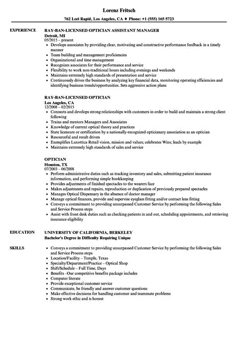 Optician Resume optician resume optician resume fabulous resume template