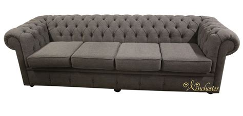 Chesterfield Settee by Chesterfield 4 Seater Settee Verity Plain Steel Fabric