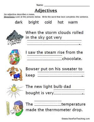 Adjectives Work Sheet  Education World