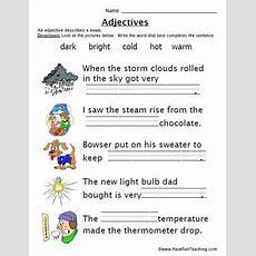 Adjectives Work Sheet  Education World