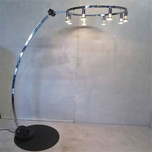 Unusual chrome floor lamp extension curved arm articulated for Floor lamp with extension arm