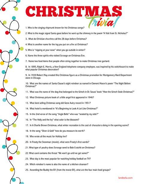printable christmas trivia christmas decore