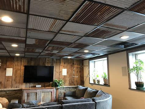 basement entertainment room  barn tin ceiling tiles