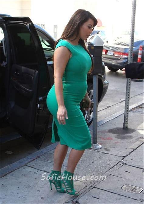 Sexy Tight Short Green Pregnant Kim Kardashian Maternity Dress