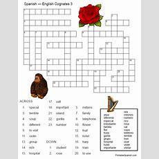 Printable Spanish Freebie Of The Day Englishspanish Cognates Crossword #3!  Printable Spanish