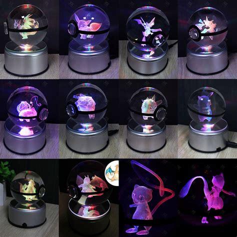 Crystal Poke ball Pokemon Pikachu Mew 3D LED Night Light Touch Table Lamp Gift   eBay