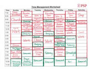 Time Management Worksheet Example