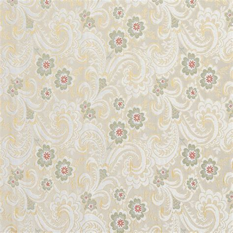 Brocade Upholstery Fabric by E391 Gold White Green Paisley Floral Brocade