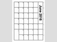 Blank June 2016 Calendar Printable Calendar Template 2018