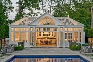 Pool House Conservatory with Kitchen - Traditional - Pool