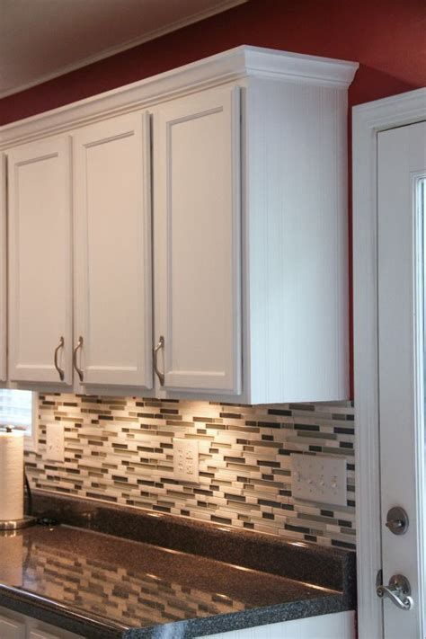 crown molding on top of cabinets budget kitchen makeover laminate countertops