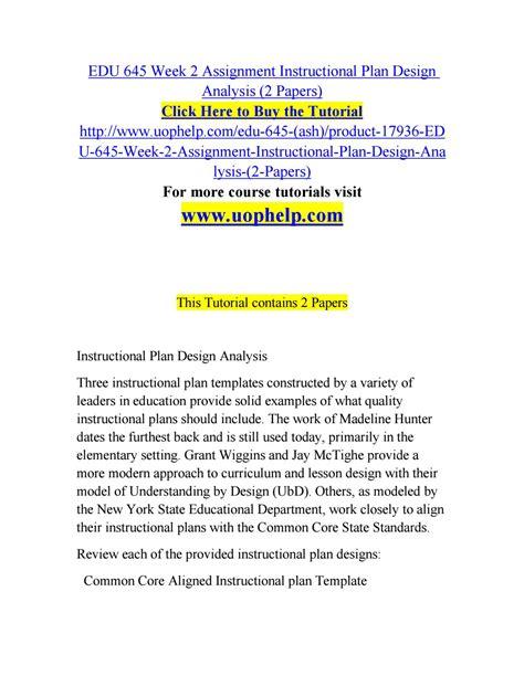 Edu 645 Week 2 Assignment Instructional Plan Design
