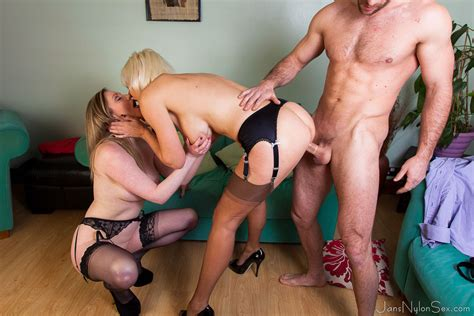 Hot Milfs In Stockings Jan And Holly Fuck One Luck Guy Pichunter
