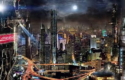 Future Night Japan Fantasy Lights Skyscrapers Moon