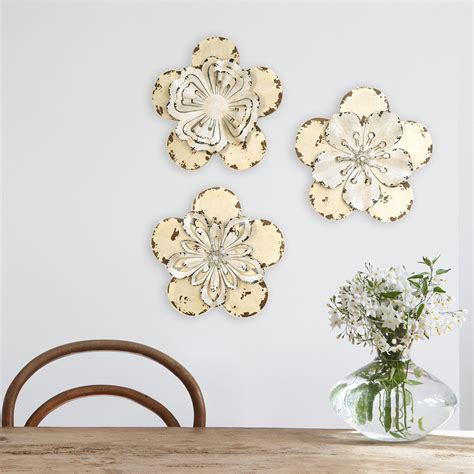 Features slightly abstract, handpainted trees on canvas. 2020 Popular Metal Flower Wall Decor (Set of 3)
