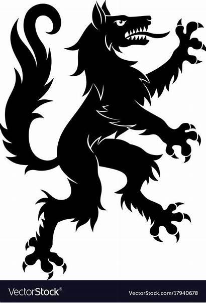 Wolf Silhouette Heraldry Heraldic Simple Vectorstock Cartoon