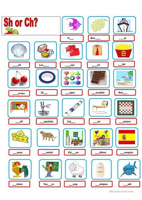 sh ch worksheet  esl printable worksheets