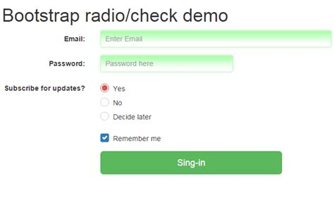 ways to use bootstrap radio buttons with 5 exles