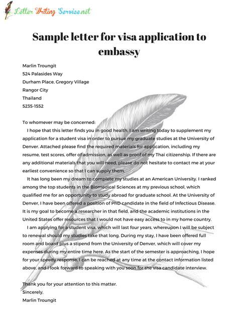 effective letter  embassy  visa application