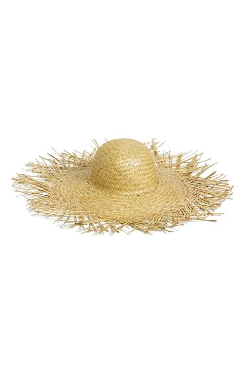 womens lack  color  russo frayed straw hat beige