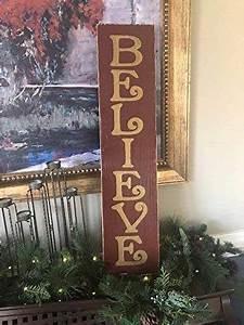 Amazon, Com, Believe, Vertical, Sign, Plaque, Merry, Christmas, Decor, Rustic, Cottage, Farmhouse, Chic