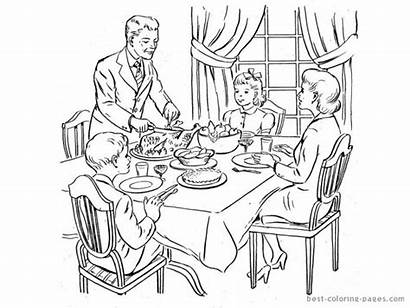 Dinner Coloring Thanksgiving Table Pages Eating Drawing