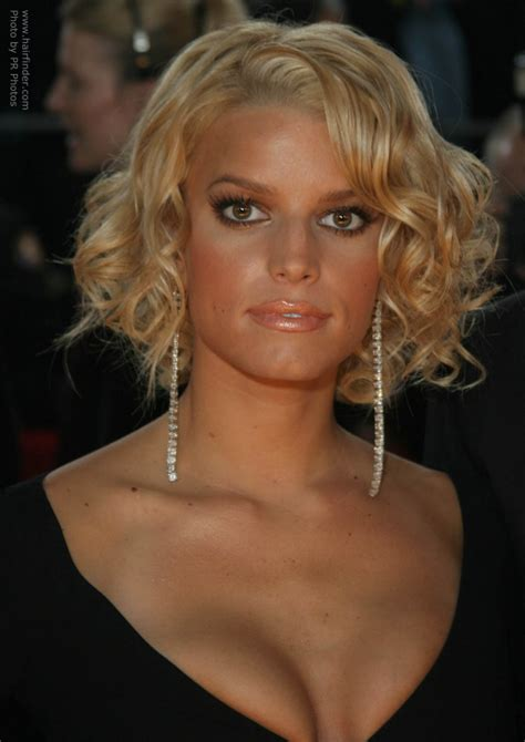 jessica simpson   short curled hairstyle  shows