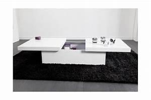 Table Basse Blanche Pas Cher : table basse blanche 2 plateaux coulissants triange table basse pas cher ~ Teatrodelosmanantiales.com Idées de Décoration