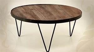 Table Basse Fer Et Bois : grande table basse ronde en fer forg et bois massif 90 cm ~ Teatrodelosmanantiales.com Idées de Décoration