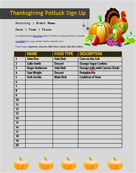 12+ Thanksgiving Potluck Signup Sheets With Thankgiving