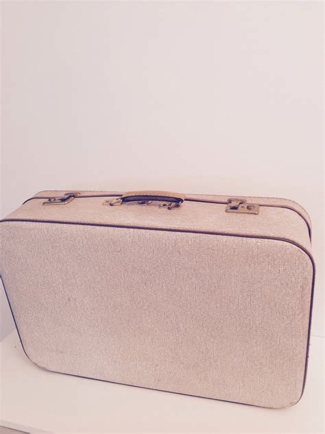 grande valise rigide vintage beige et camel luckyfind