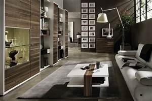 Salon contemporain en noir et en couleurs foncees for Tapis couloir avec canape relax design contemporain
