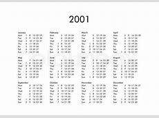 Vintage calendar of year 2001 with all months Stock
