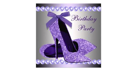 glitter pearls purple high heels shoes birthday card